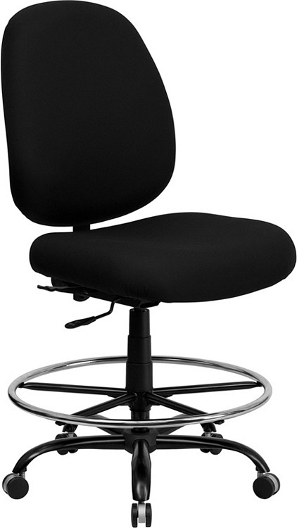 Flash Furniture HERCULES Series Big & Tall 400 lb. Rated Black Fabric Drafting Chair