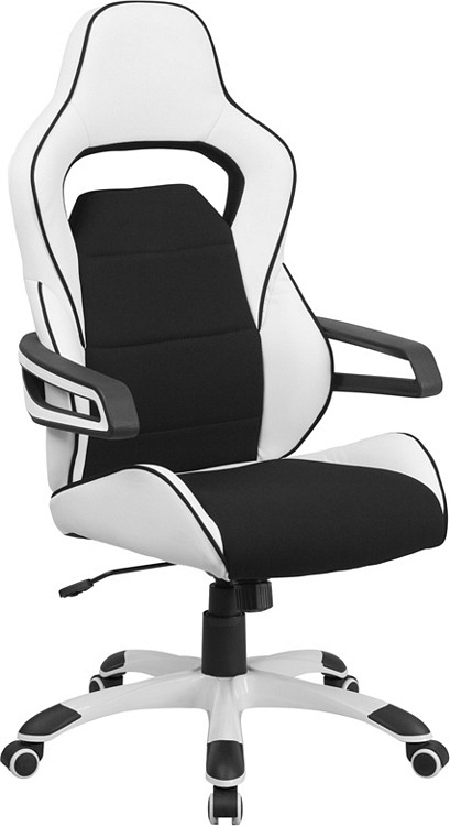 flash furniture high back white vinyl executive swivel chair with