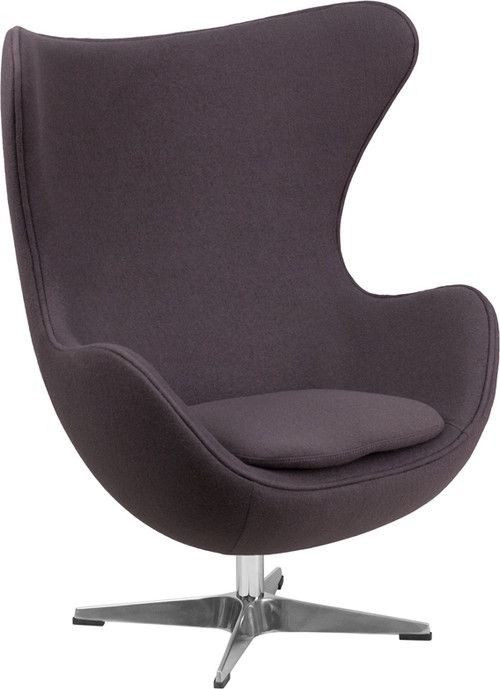 Lemoderno Gray Wool Fabric Egg Chair With Tilt Lock