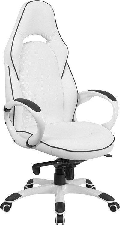 Flash Furniture High Back White Vinyl Executive Swivel Chair With Black  Trim And Arms
