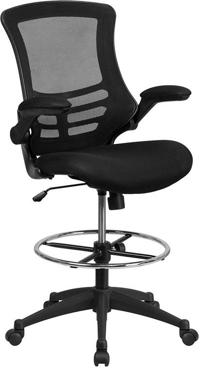 Flash Furniture Mid Back Black Mesh Drafting Chair With Adjustable Foot  Ring And Flip  ...