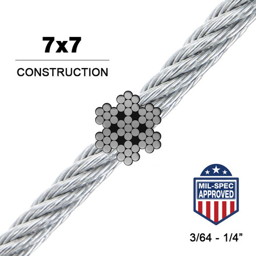7x7   Stainless Steel Wire Rope (Aircraft Cable) MIL-DTL 83420