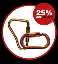 25% off select carabiners and hooks
