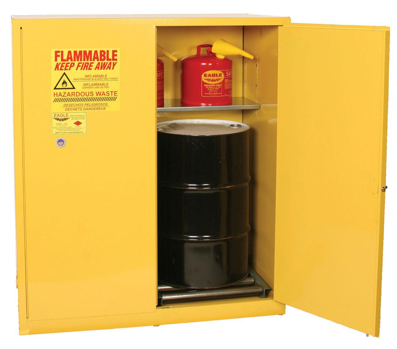 & Eagle HazMat Drum Storage Cabinet 110 Gallons Self Closing
