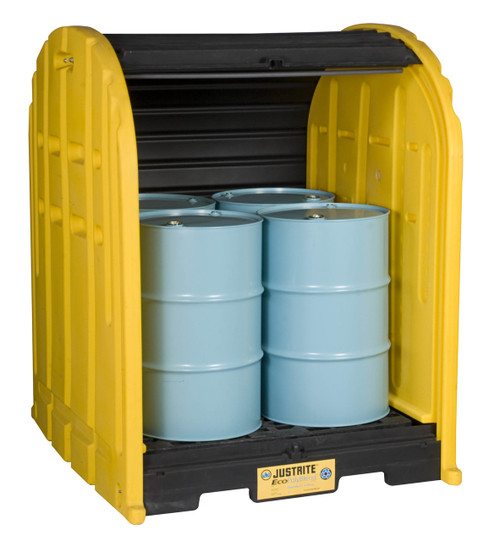 Door Spill Containment : Gallon drum storage shed outdoor