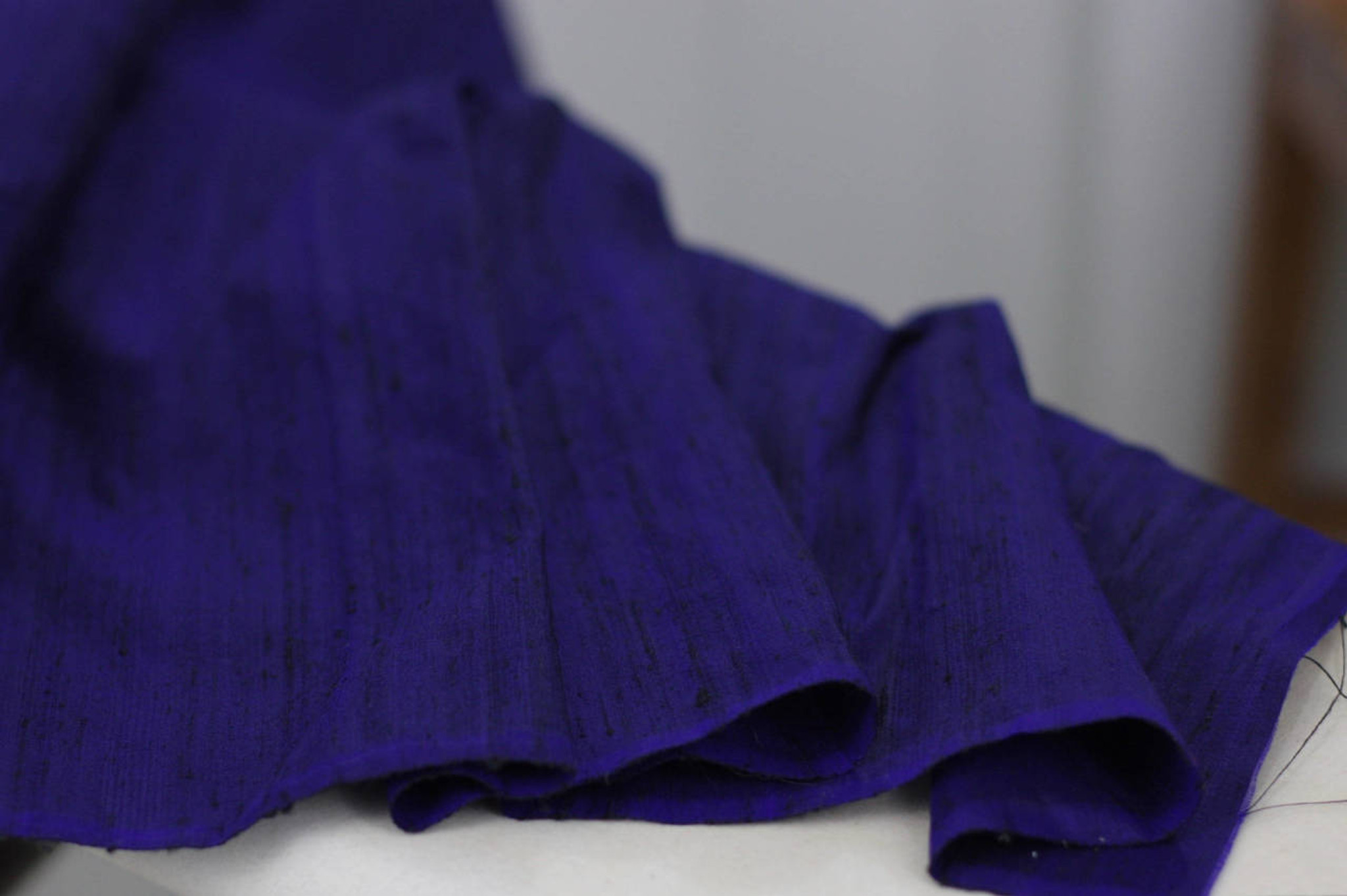 Navy Silk Dupioni