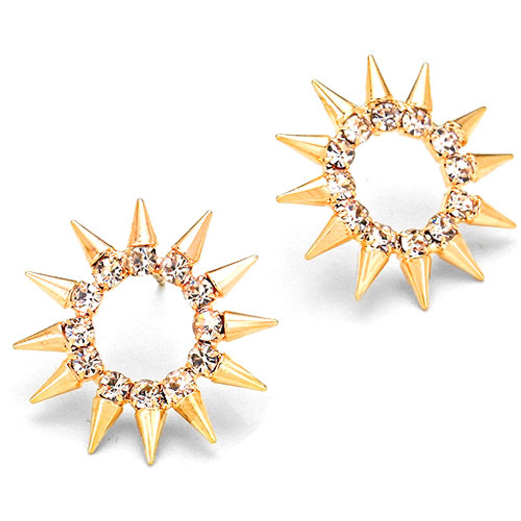 Crystal and Gold Spikes Pinwheel Earring