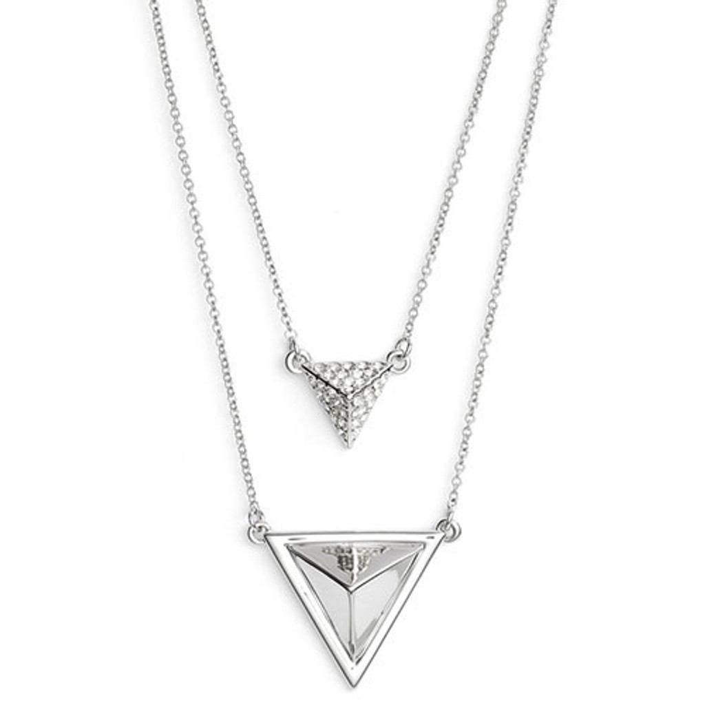 House of Harlow Double Layered Pyramid Necklace in Silver