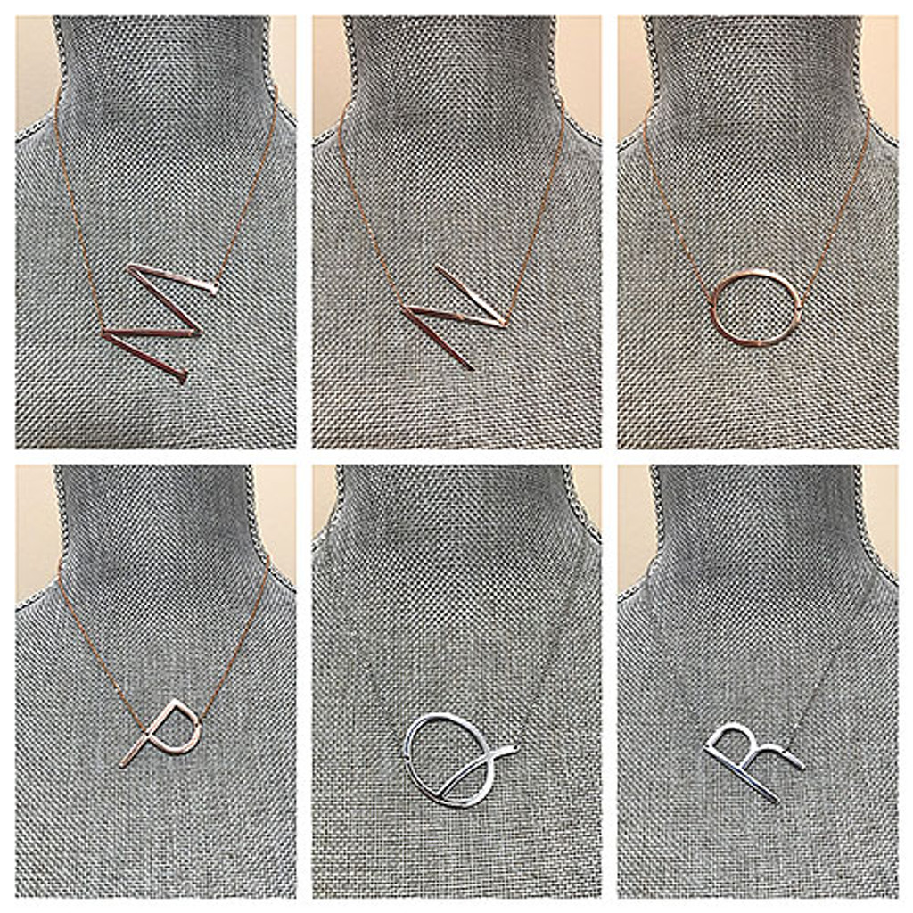 Medium Sideways Initial Necklace