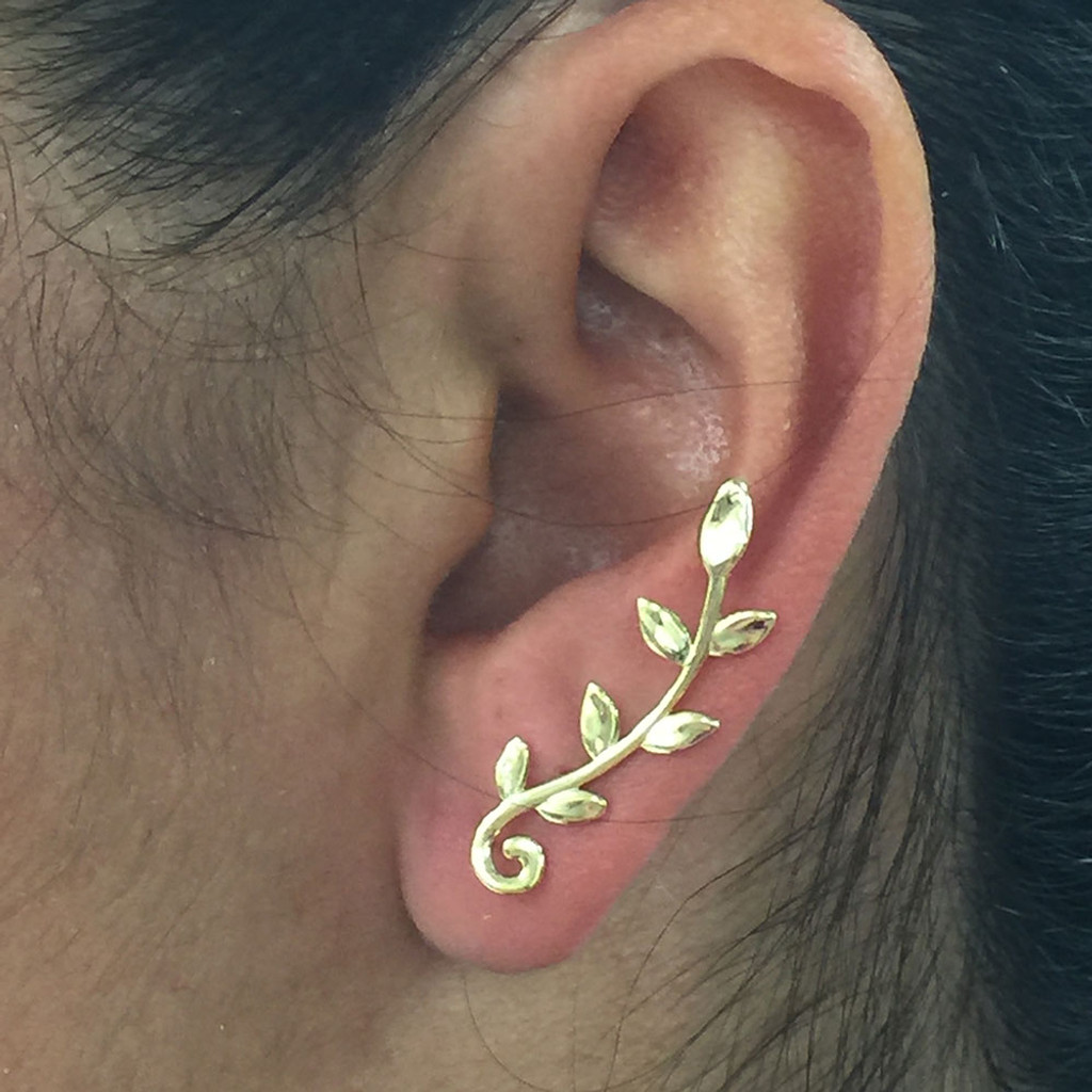 14K over Sterling Vine Ear Crawler