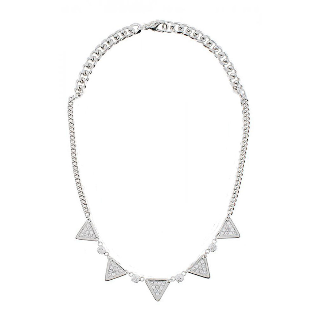 Five Pave Silver Triangles Necklace