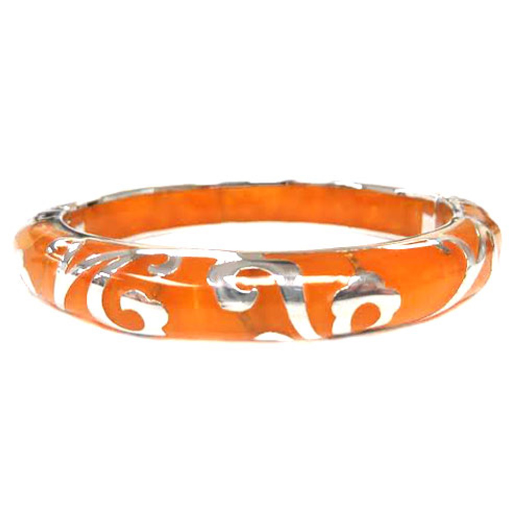 AHC's Amber and Silver Scrolled Bangle