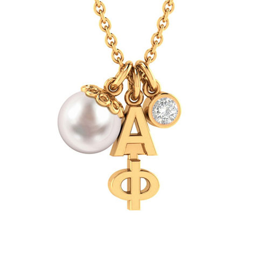 Alpha Phi Gold Triple Charm Necklace