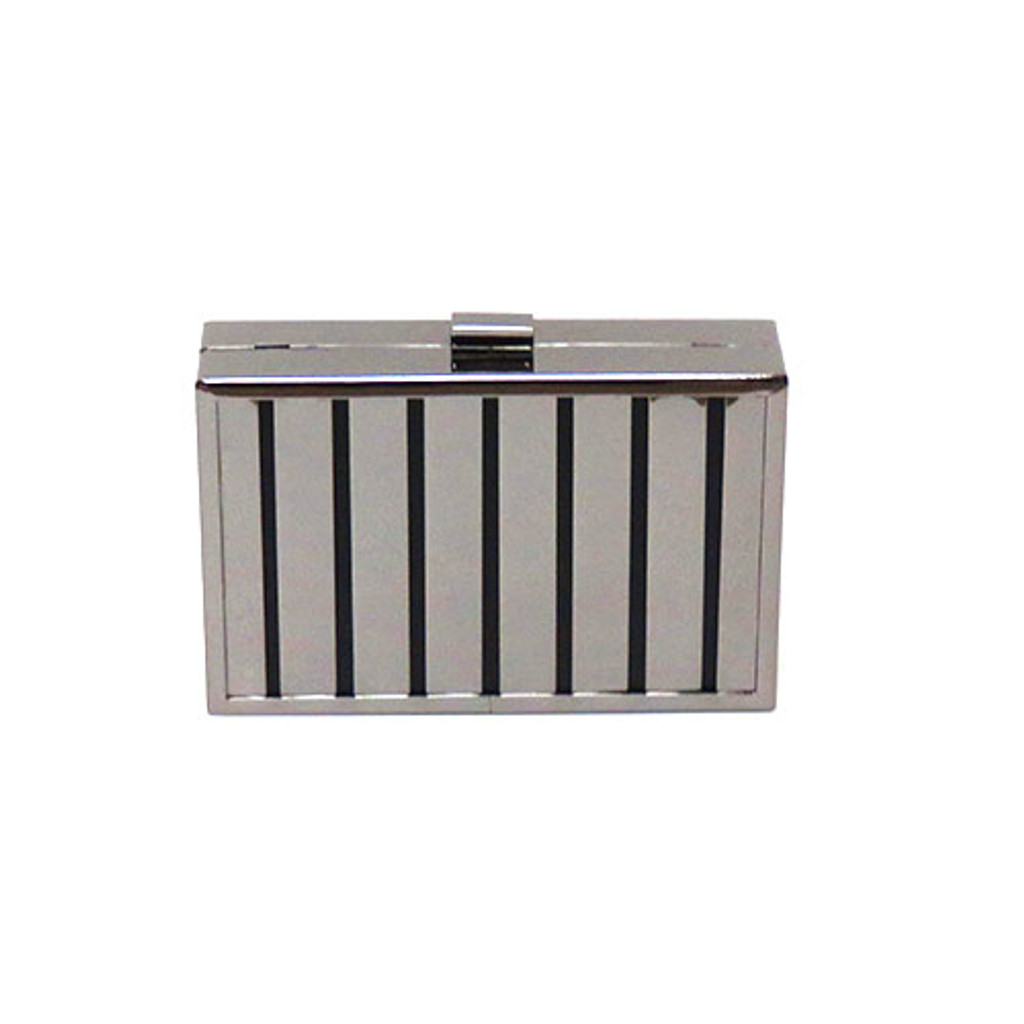 Rectangular Box Clutch Gun Metal