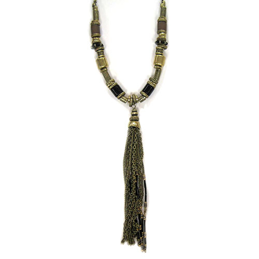 Antiqued Bronzed Beauty Tassel Necklace 1