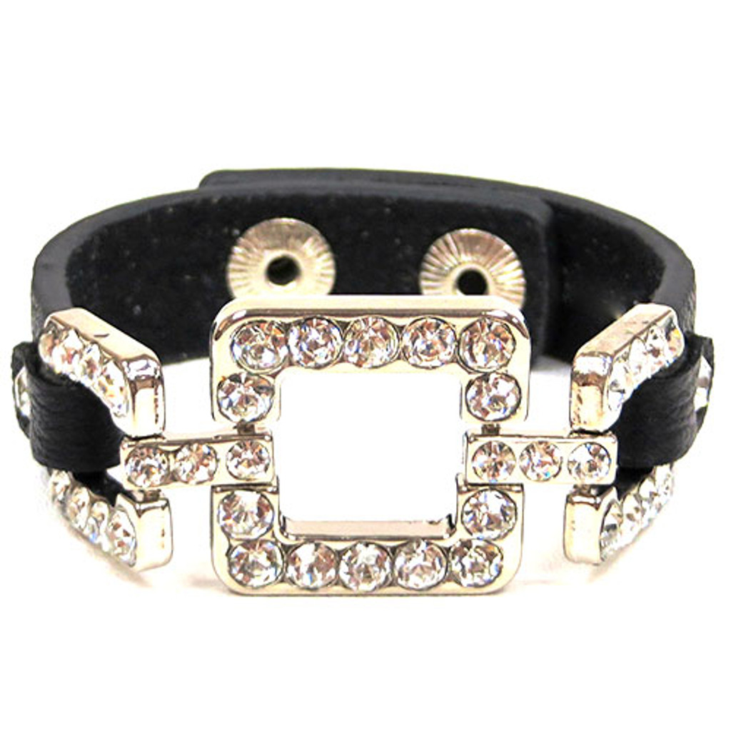 Crystal Square Leather Bracelet