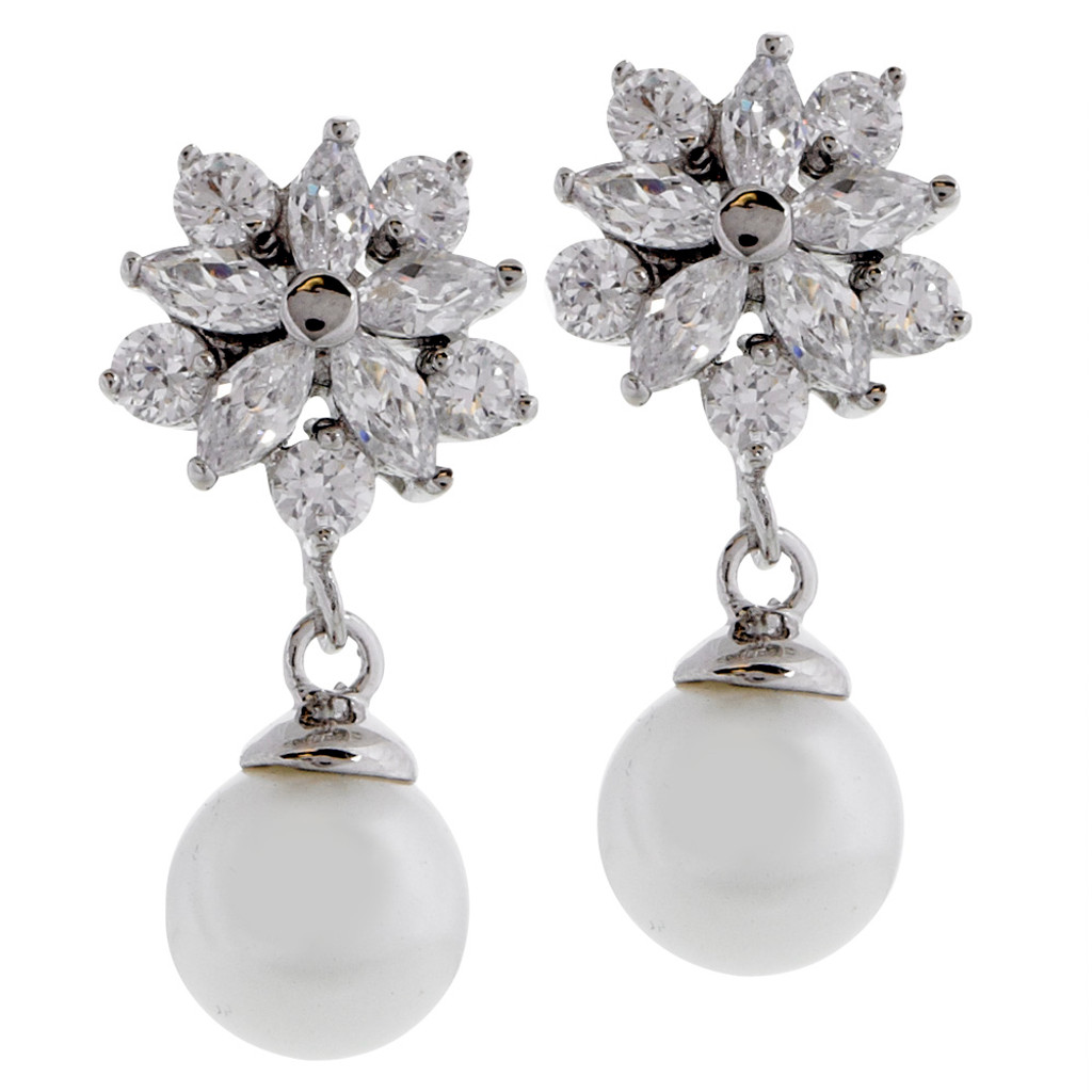 Flower Cluster with Pearl Drop Earring