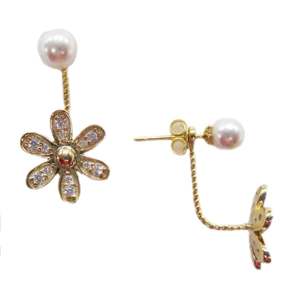 14K over Sterling and Pearl Peek-A-Boo Flower Earring