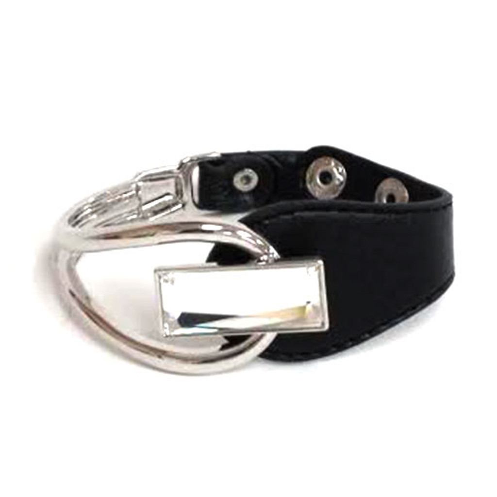 Rectangular Shaped Crystal Leather Bracelet 1
