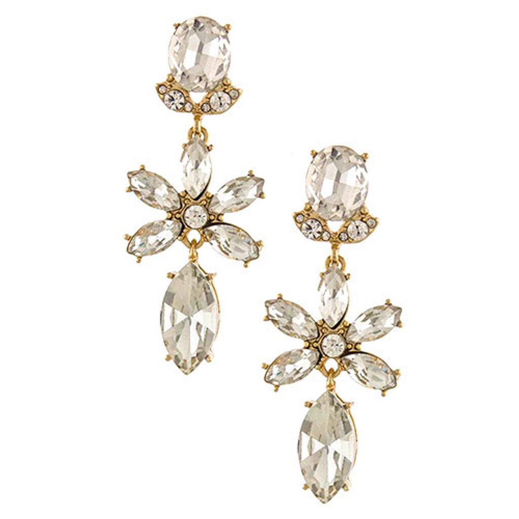 Clear Crystal Flower Dangle In Gold