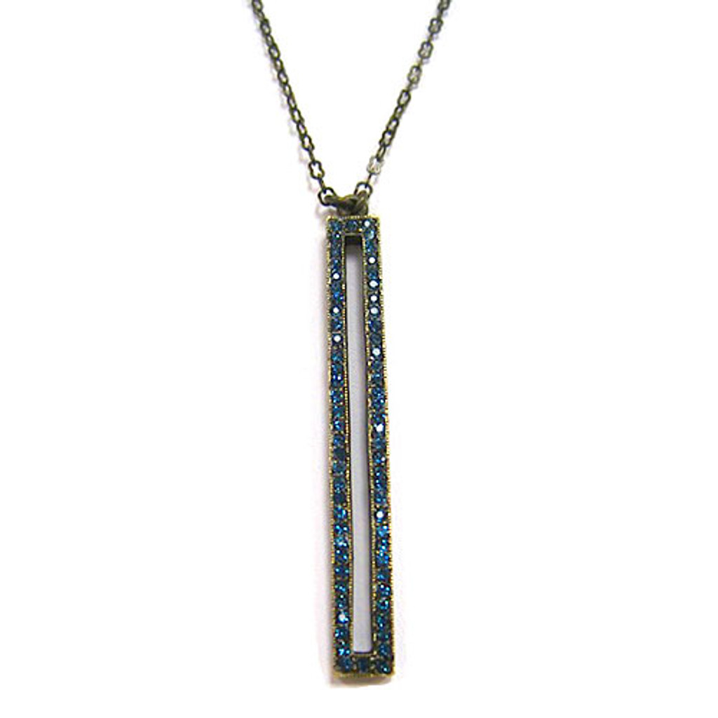 Open Rectangle Crystal Necklace