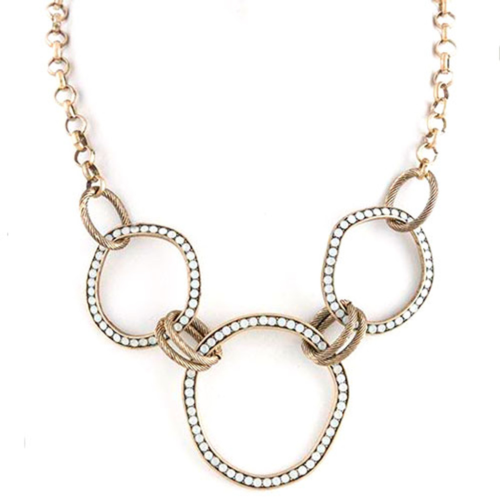 Antiqued Circle Links Necklace-White