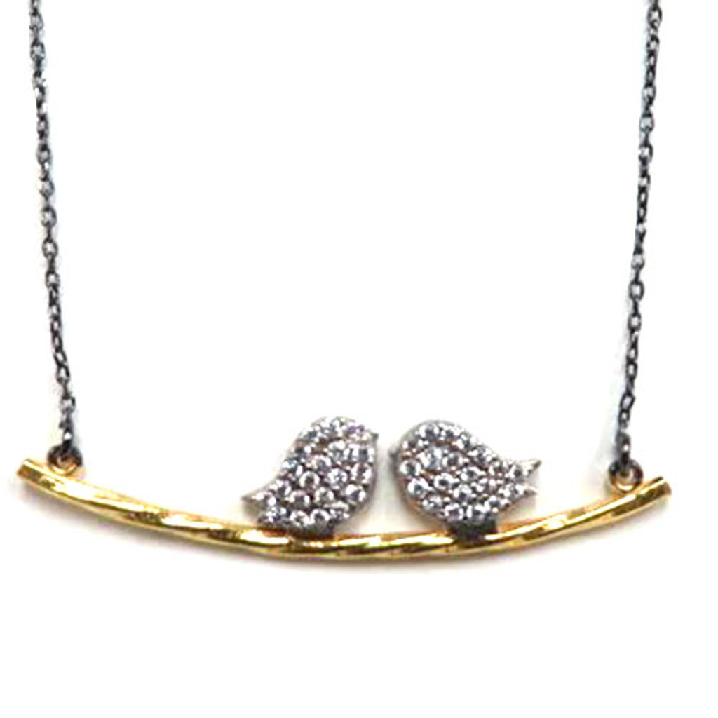 Clear Love Birds on Gold Branch Necklace