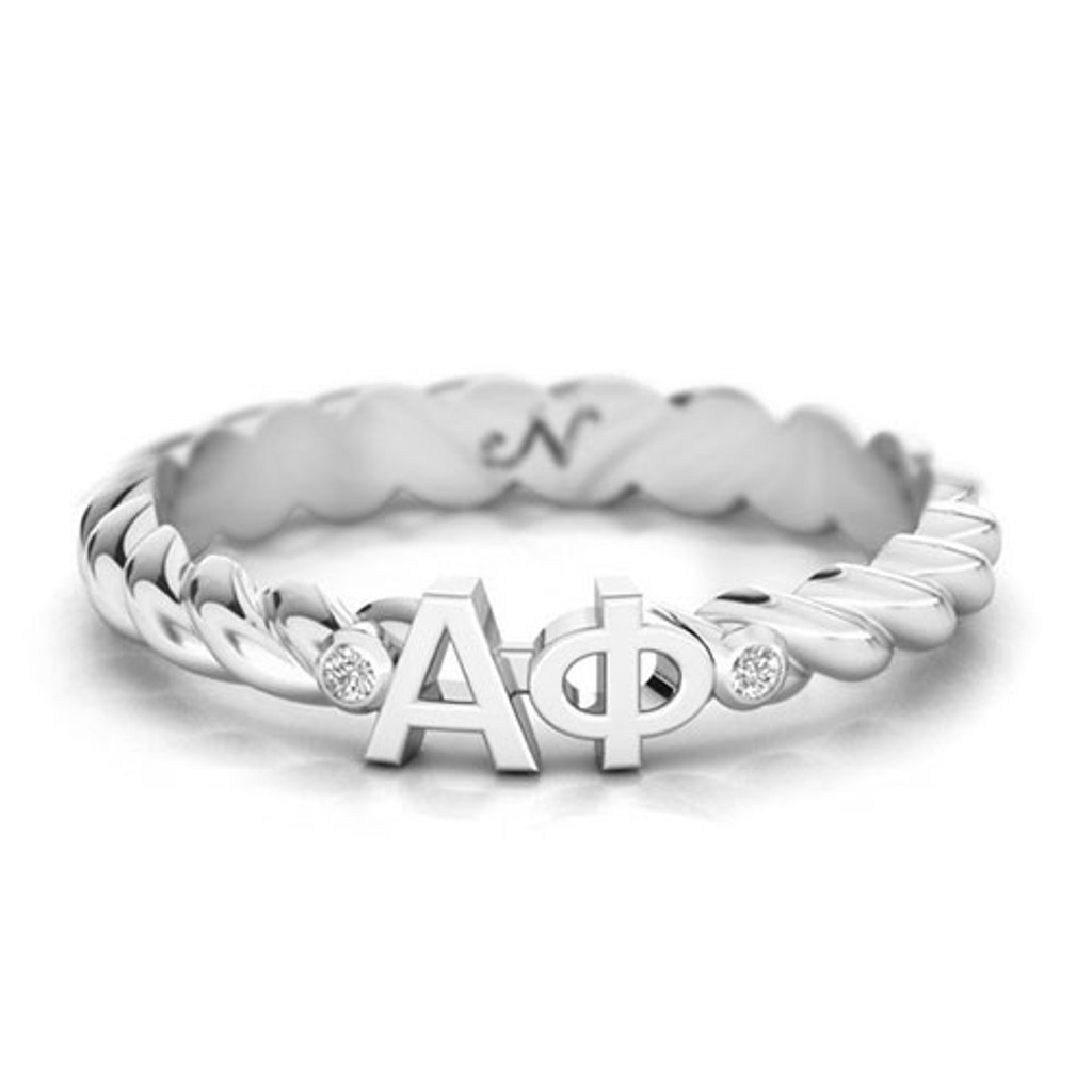 Alpha Phi Silver Pav© Twist Letter Ring