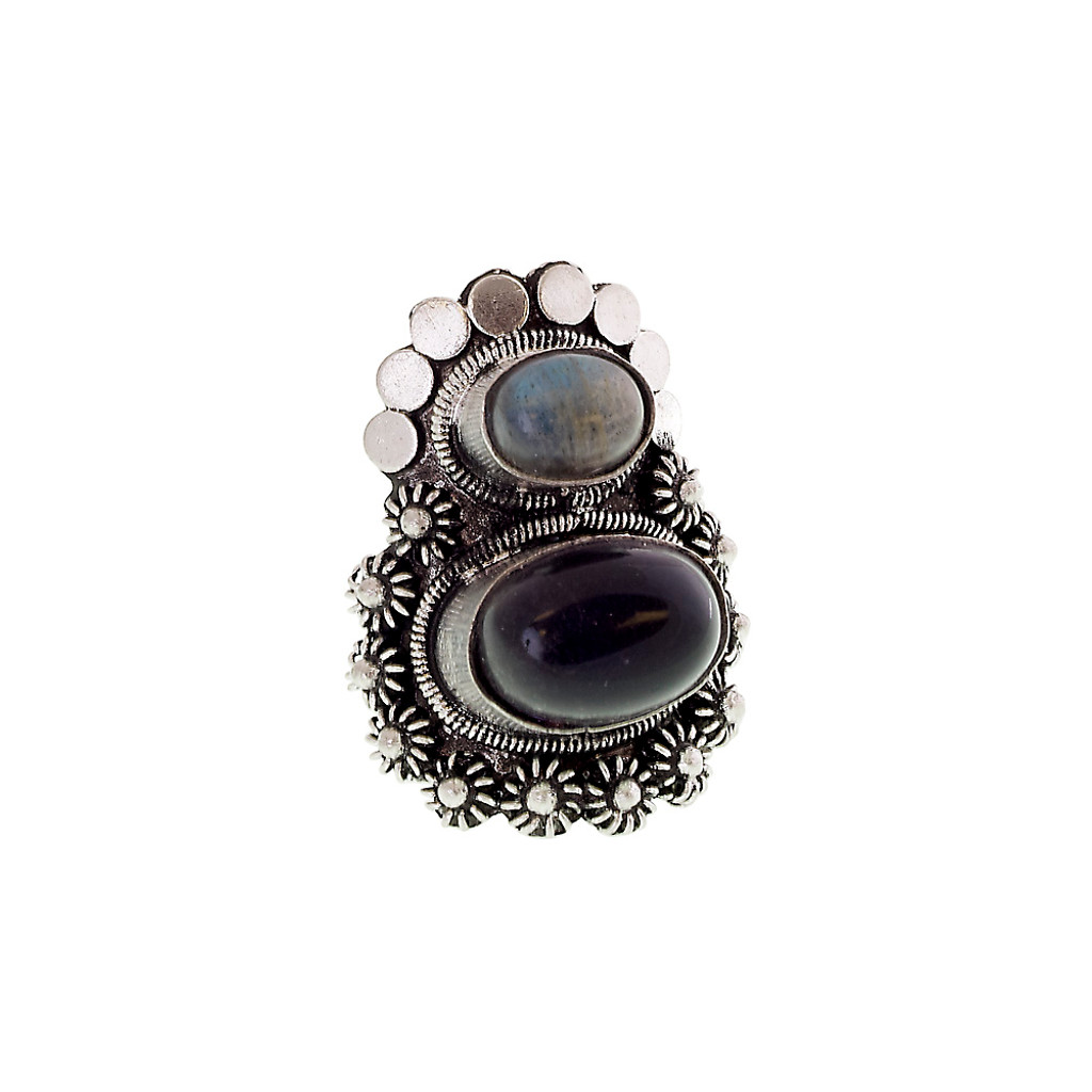 Antiqued Silver Double Stone Ring