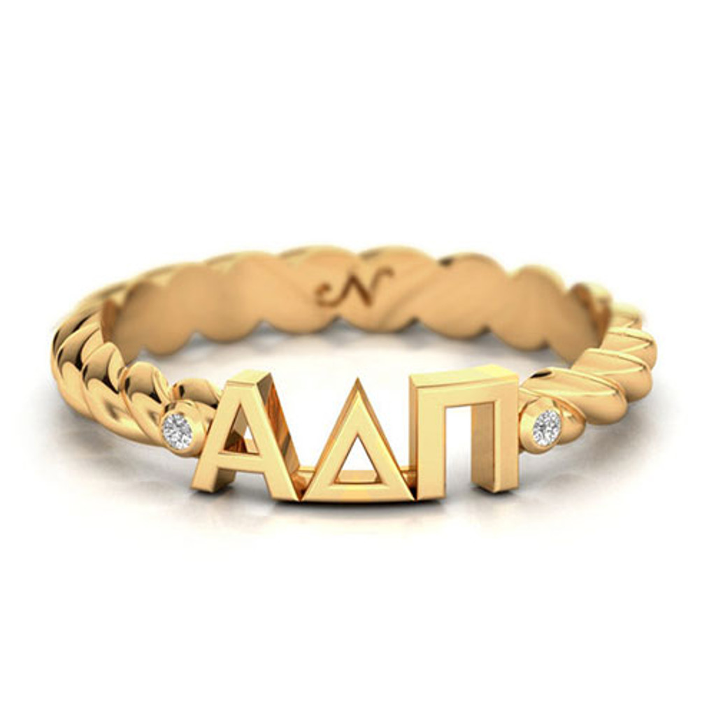 Alpha Delta Pi Gold Pavå© Twist Letter Ring