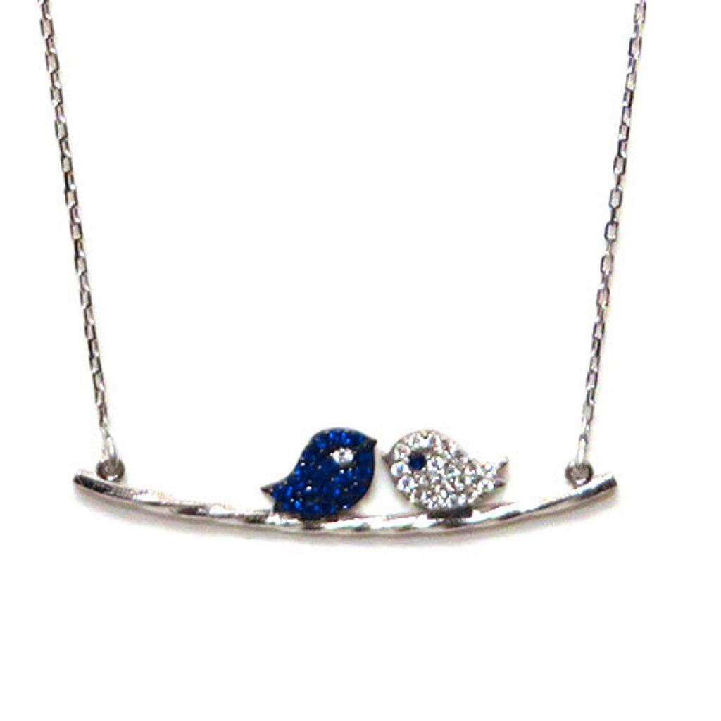 Sapphire and Clear Love Bird Necklace