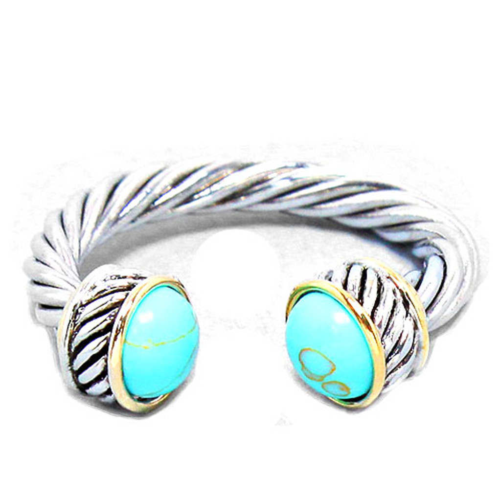 Twisted Cable Ring Turquoise