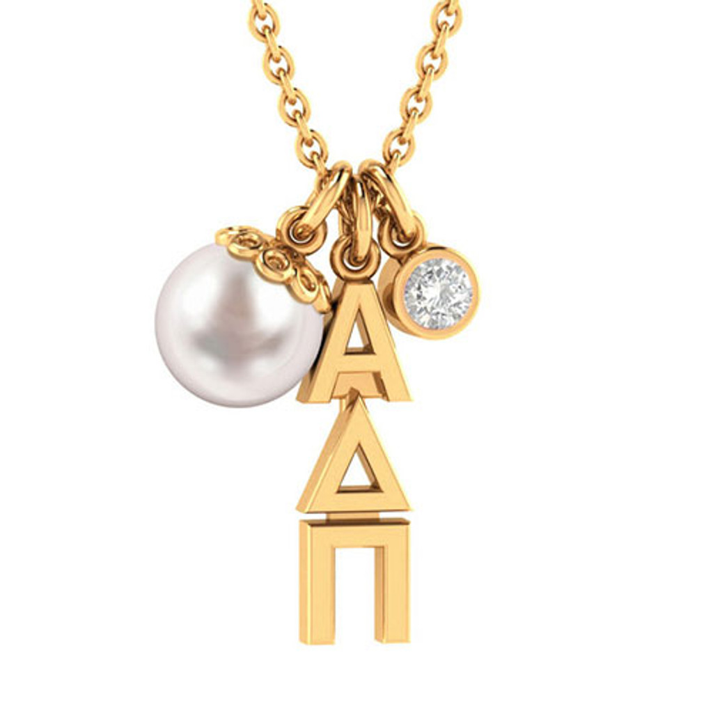 Alpha Delta Pi Gold Triple Charm Necklace