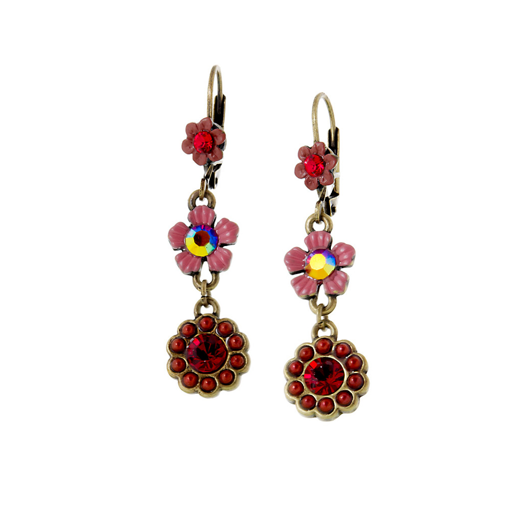 Antique Brass Flower Earring In Shades Of Red