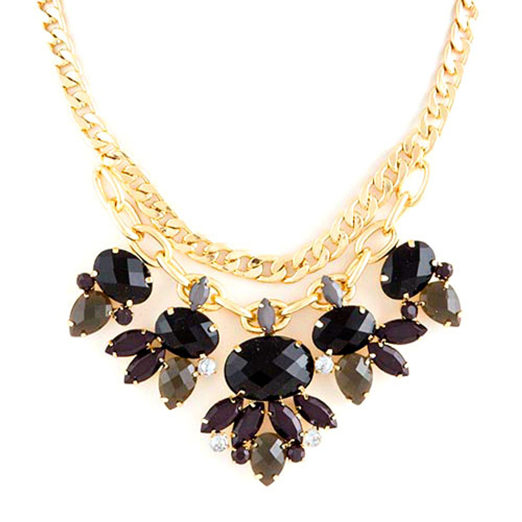 Black and Gray Jeweled Statement Necklace