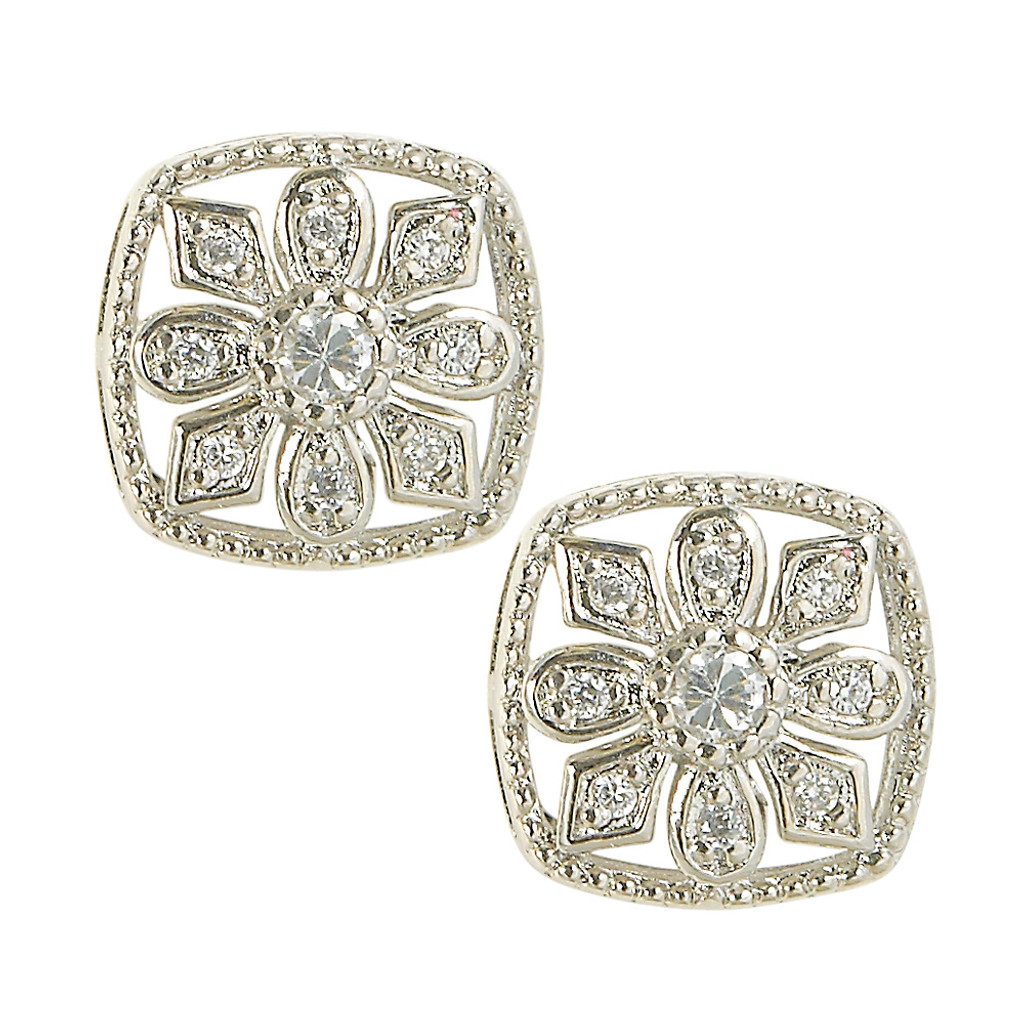 Boxed Pave Flower Stud Earring