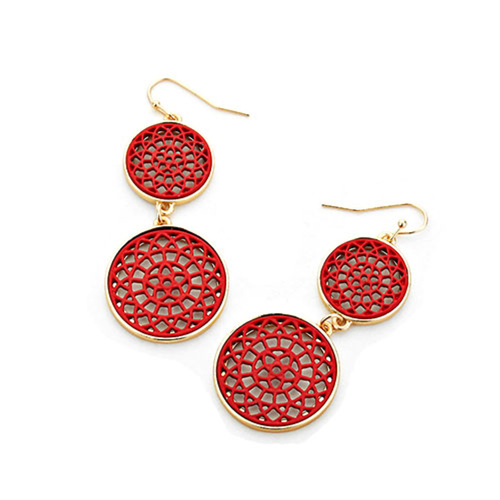 Red Lacey Lotus Double Circle Earrings
