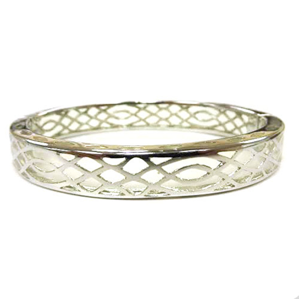 AHC's Clear Resin and Silver Infinity Bangle