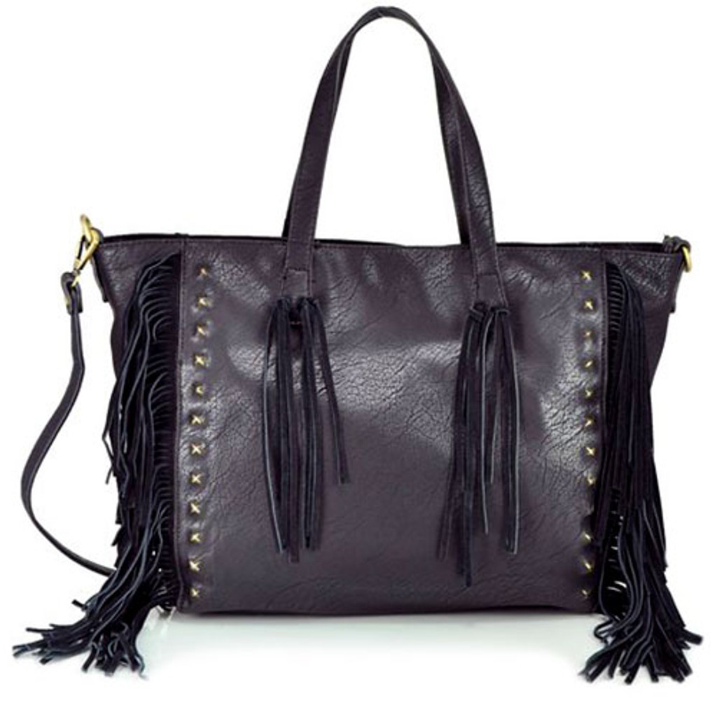 Sondra Robert's Black Nappa with Suede Fringe Tote