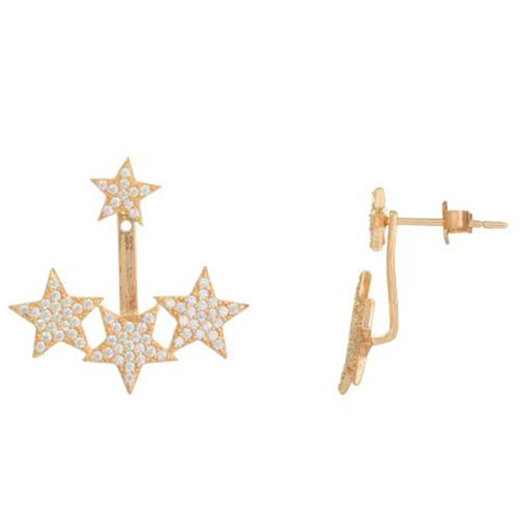 Rose Gold Pave Stars Front and Back Earrings