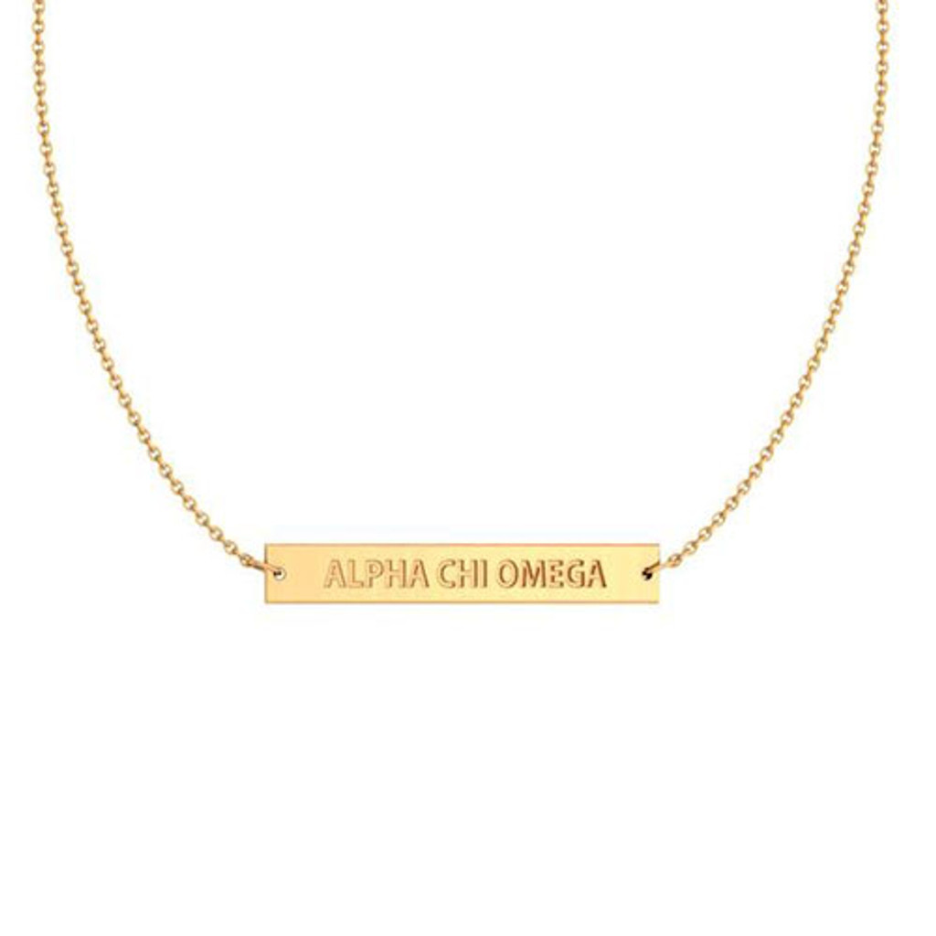 Alpha Chi Omega Gold Infinity Bar Necklace Zoky Doky