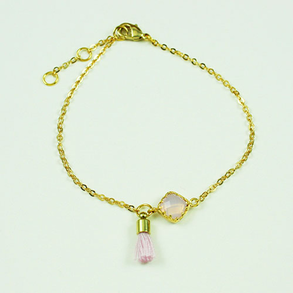 Pink Stone with Tiny Tassel Bracelet
