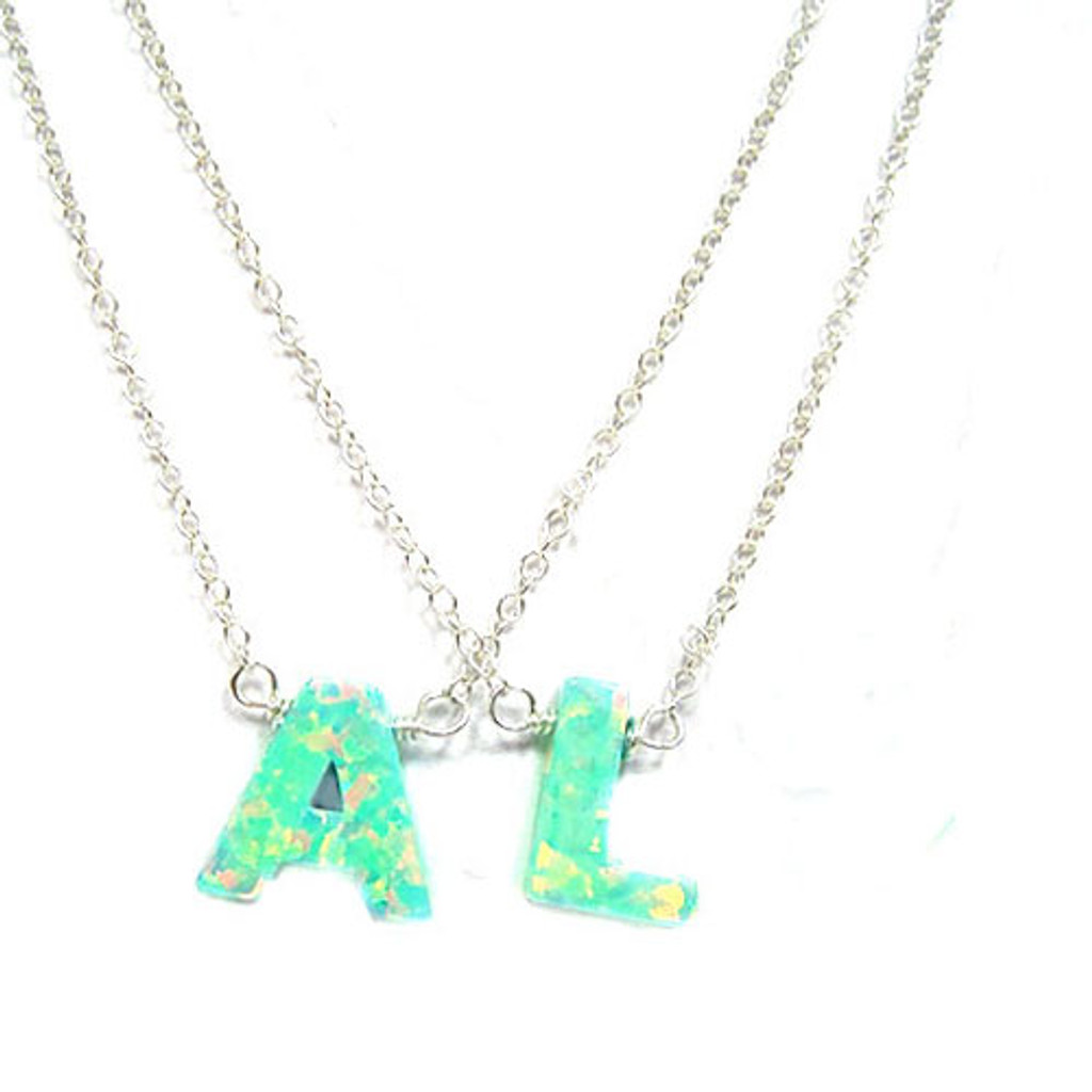 Sea Foam Green Opal Initial Letter Necklaces
