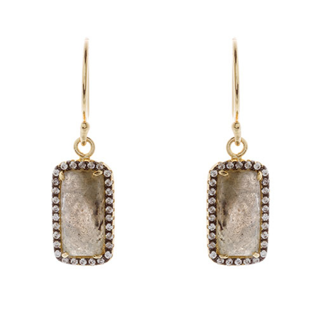 Labradorite Hanging Rectangle Earring