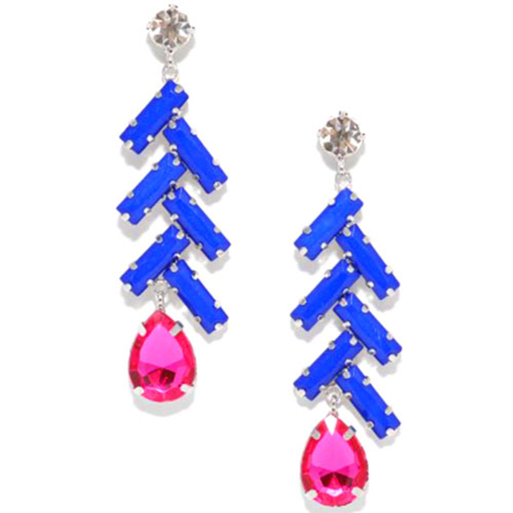 Cobalt and Pink Zig- Zag Earring