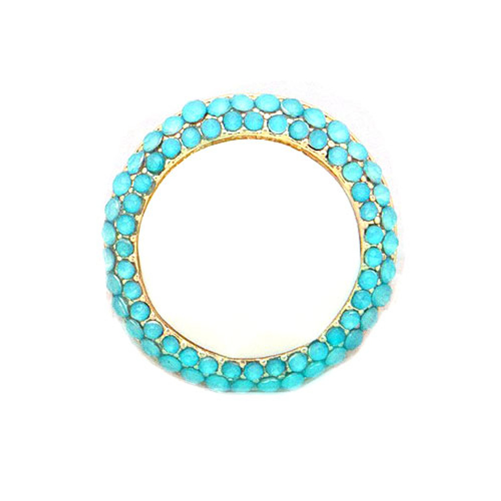 Large Round White and Turquoise Bauble Ring