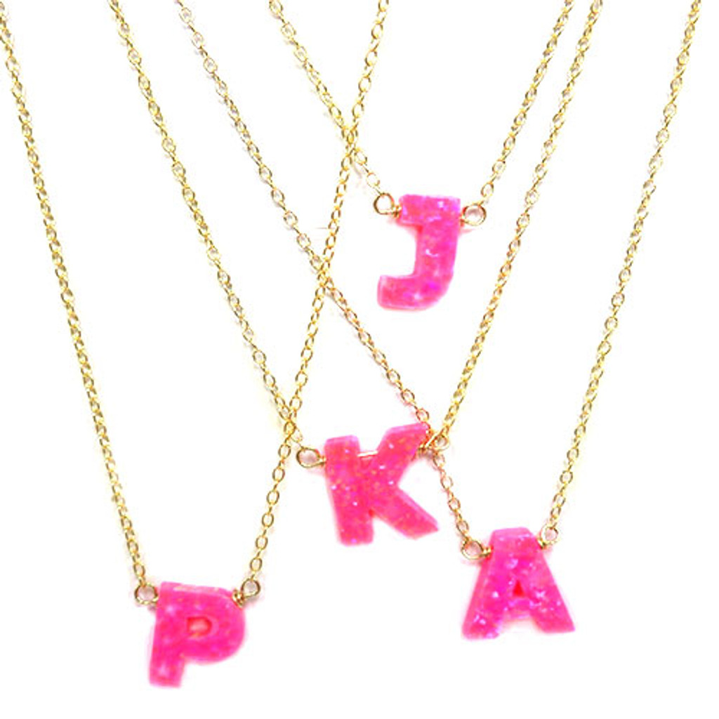 Pink Opal Initial Letter Necklaces