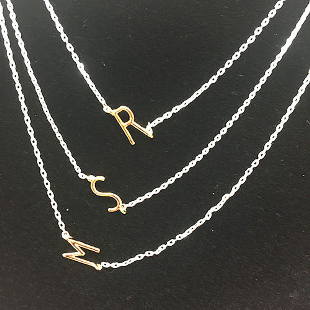Petite Sideways Gold Initial on Silver Chain