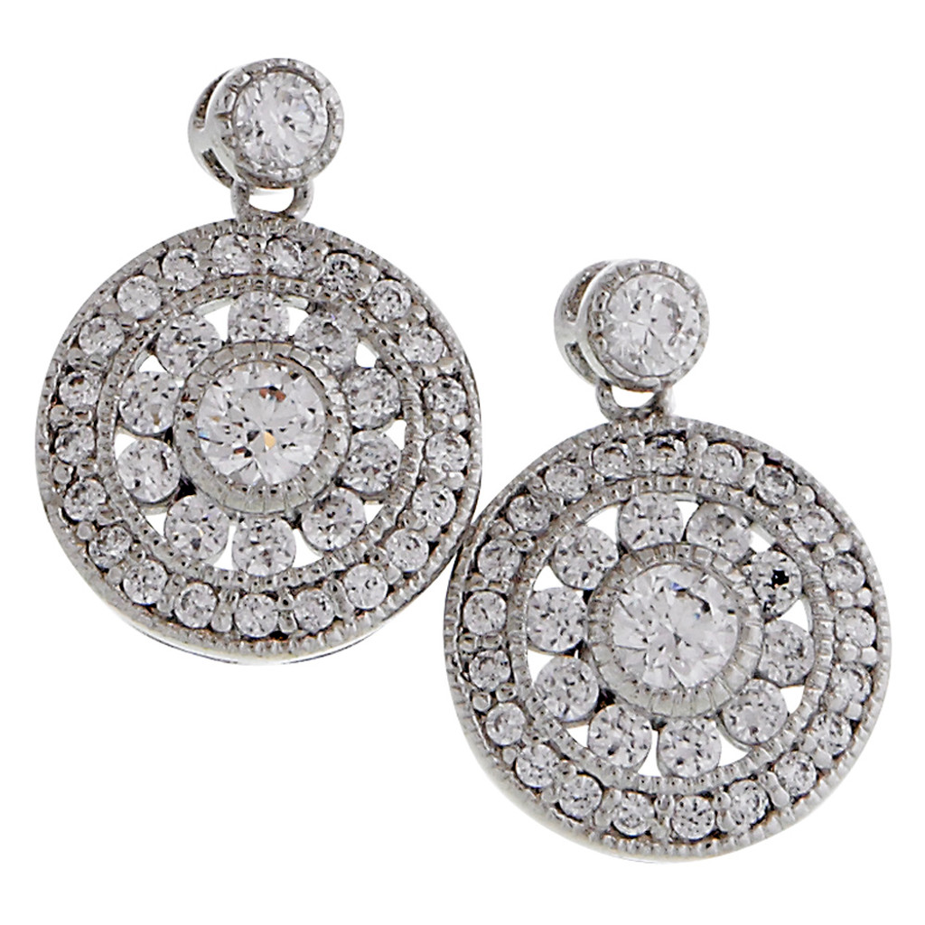 Designer Pave Shield Posts Earrings
