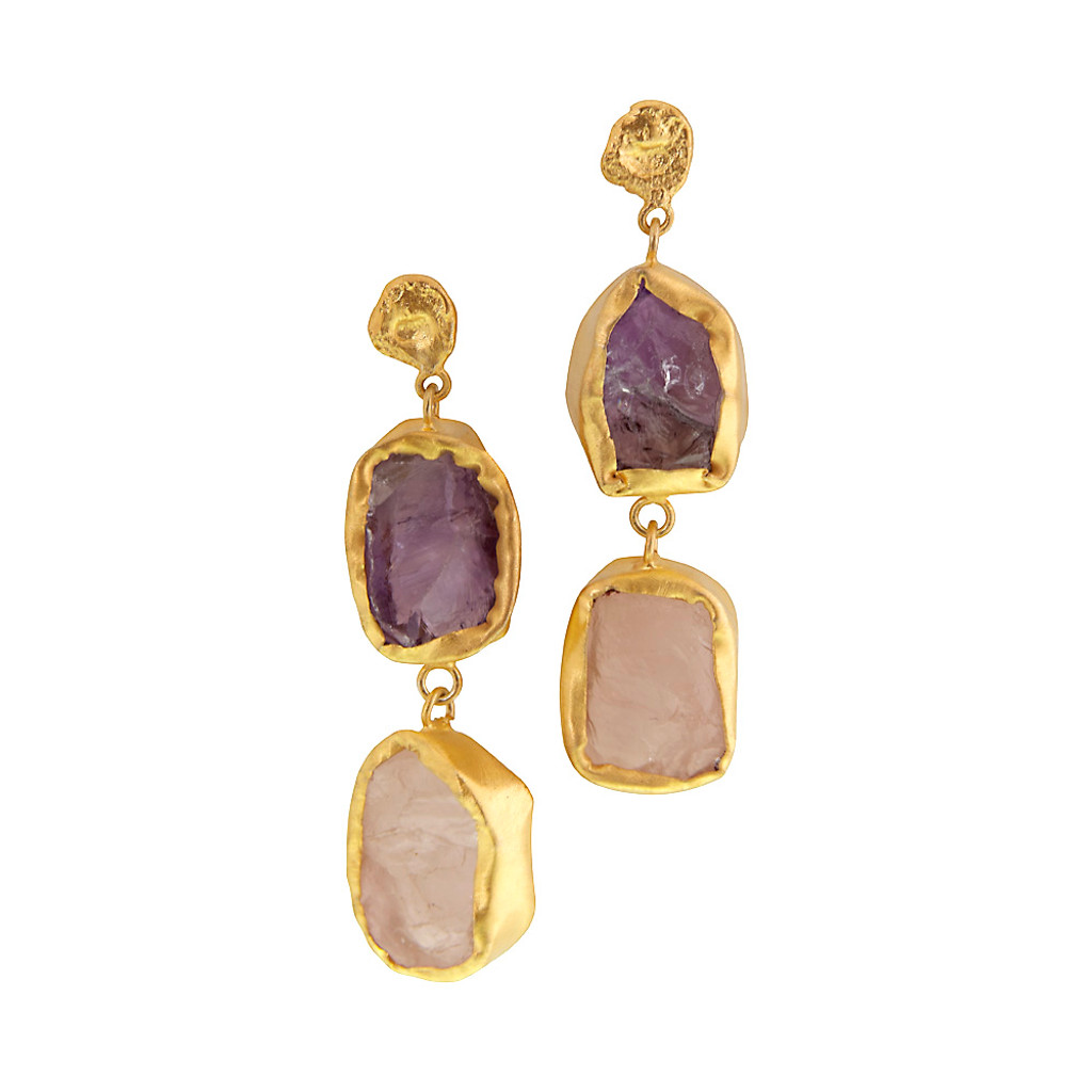 Amethyst and Rose Quartz Double Drop Earring